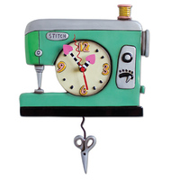 Stitch Sewing Machine Green Pendulum Clock