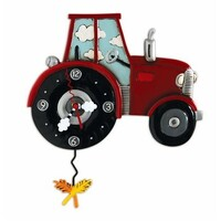 Tractor Time Red Pendulum Clock